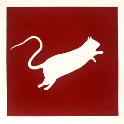 Blek le Rat, 'Rat blanc (Red)', 2020