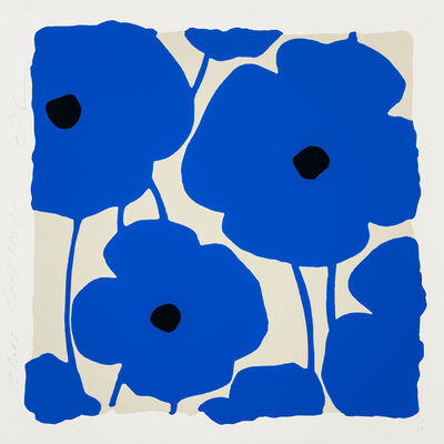Donald Sultan, 'Three Poppies (Blue) ', 2020