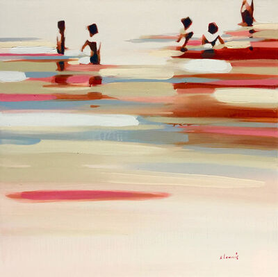 """Elizabeth Lennie, '""""Deep Summer Revisited"""" abstract oil painting of figures in the water with shades of Sunset', 2018"""
