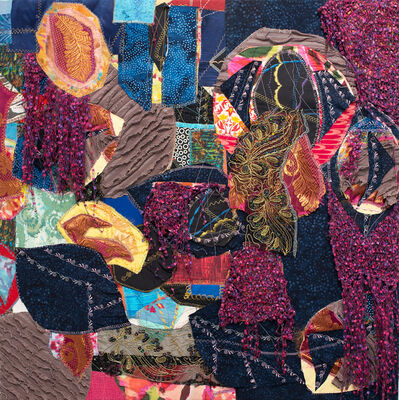 Jennifer Blalack, 'Imagination - Bold Geometric International Fabric and Textile Collage', 2021