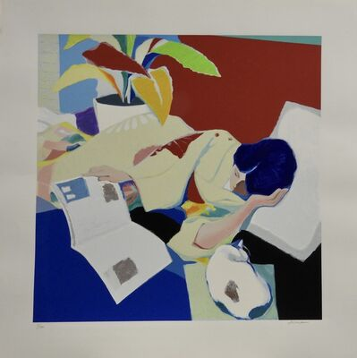 Tadashi Asoma, 'Reclining Woman with Cat', 1977