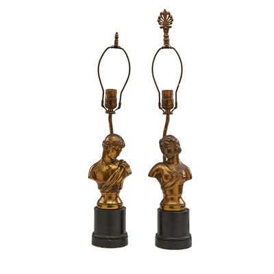 Kupur, 'Pair of Art Deco table lamps with male and female classical busts'