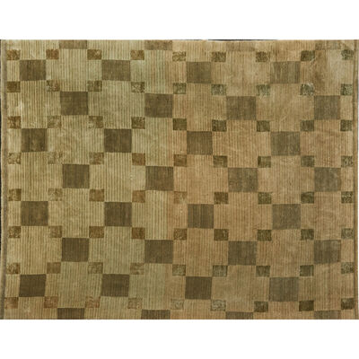 Tufenkian, 'Tibetan room-sized rug with repeating tile pattern and striated overlay, on beige ground'