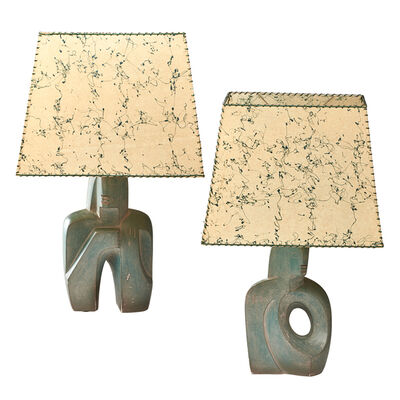 Rima, 'Two sculptural table lamps, with splatter-painted parchment shades'