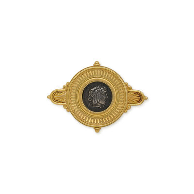 Fortunato Pio Castellani & Sons, 'Gold brooch with ancient greek silver coin', ca. 1875