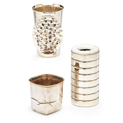 Louis Mueller, 'Life-Saver Cup by Mueller, untitled silver cup by Flynn, and untitled cup with oval by Mimlitsch-Gray, USA', 1990s