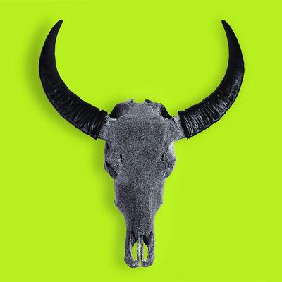 Angela Morris-Winmill, 'Black Diamond Dust Water Buffalo Skull on Neon Green, Print', 2019