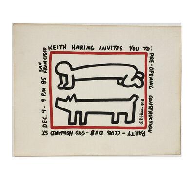 "Keith Haring, '""Club DV8"", SILK-SCREEN, Pre-Construction Party Invitation', 1985"