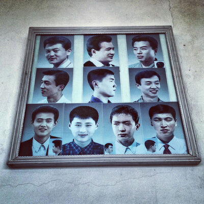 David Guttenfelder, 'Example haircuts on display at a barbershop in #Pyongyang', 2013
