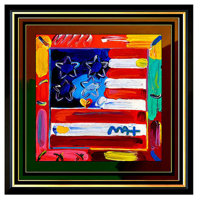 Peter Max, 'PETER MAX Acrylic Painting ORIGINAL FLAG WITH HEART Signed POP ART Framed USA', 21st Century