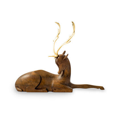 Werkstatte Hagenauer Wien, 'Werkstatte Hagenauer fallow deer brass and wood figurine ca. 1930', ca. 1930