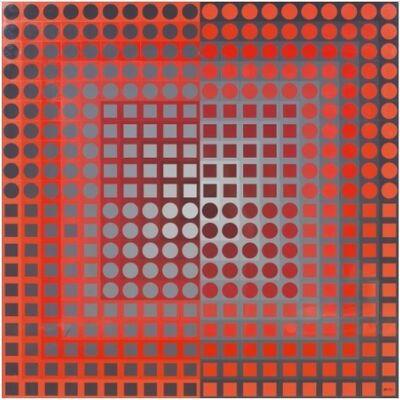 Victor Vasarely, 'ZOELD Red/Grey', 1972