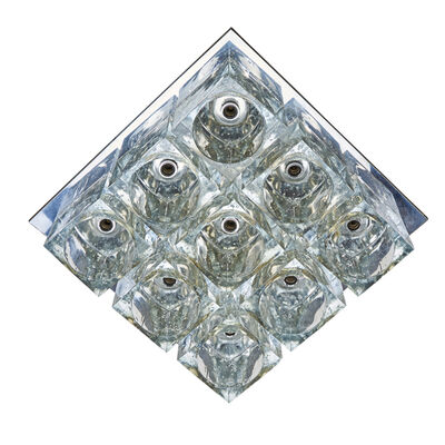 "Gaetano Sciolari, 'Three ""Ice Cube"" fixtures: nine light ceiling and  pair of three light wall sconces', ca.  1970s"