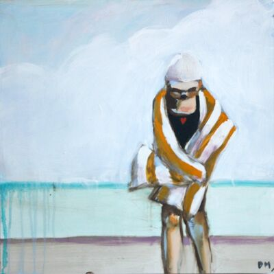 "Debbie Miller, '""Yellow Stripes"" oil painting of a girl at the beach wrapped in a yellow and white striped towel', 2019"