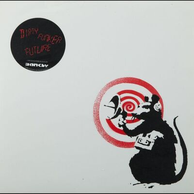 "Banksy, '""Future"" (Radar Rat) Dirty Funker album cover (White)', 2007"
