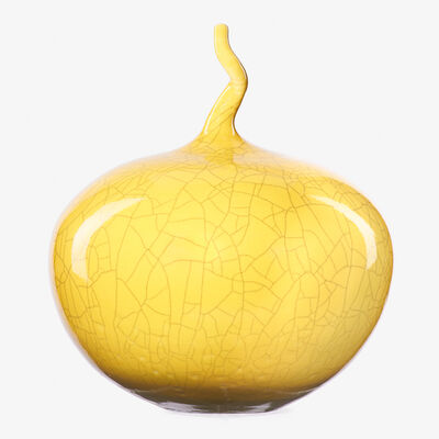 Cliff Lee, 'Imperial Yellow crackle glaze vase with twisted stem, Stevens, PA', 2001
