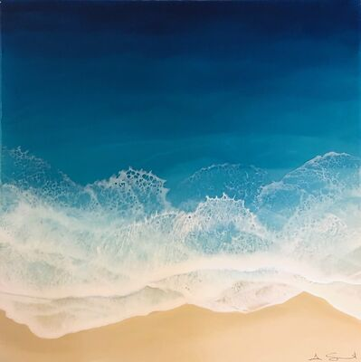 "Anna Sweet, '""Blue Ocean"" Mixed Media painting of aerial view of deep blue ocean', 2019"