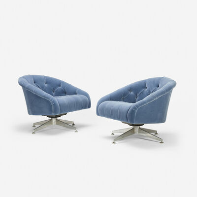 Ward Bennett, 'swivel lounge chairs, pair', c. 1965