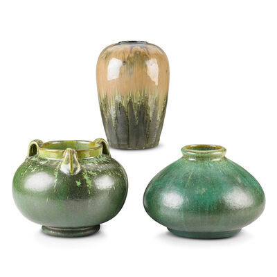 Fulper Pottery, 'Three Vases (One Prang), Leopard Skin Crystalline, Cucumber Green and Experimental Flambé Glazes, Flemington, NJ', 1910s-20s