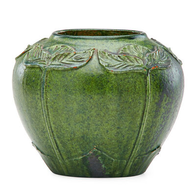 Merrimac Pottery, 'Vase with carved and applied leaves, crystalline green glaze, Newburyport, MA', ca. 1905