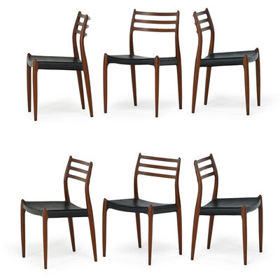Niels Otto Møller, 'Falster Dining Table And Set Of Six Moller Side Chairs, Denmark', 1970s