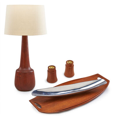 Jens H. Quistgaard, 'Group of five: tall table lamp, Surfboard tray, Canoe bowl, and pair of candle holders'