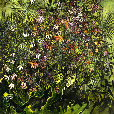 Rebecca Saylor Sack, 'Zinnias and Allium', 2017