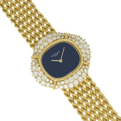 Patek Philippe, '18ct gold bracelet watch with diamond set bezel.', 1978