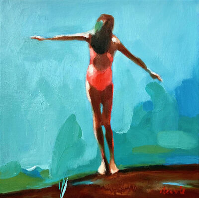 "Elizabeth Lennie, '""Summer 2019-6"" oil painting of girl standing in pink bathing suit with blue and green background ', 2019"