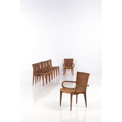 Louis Sognot, 'Set of six chairs and two armchairs', near 1950