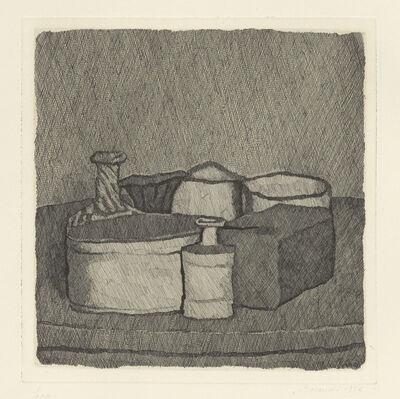 Giorgio Morandi, 'Natura morta con quattro oggetti e tre bottiglie', 1956