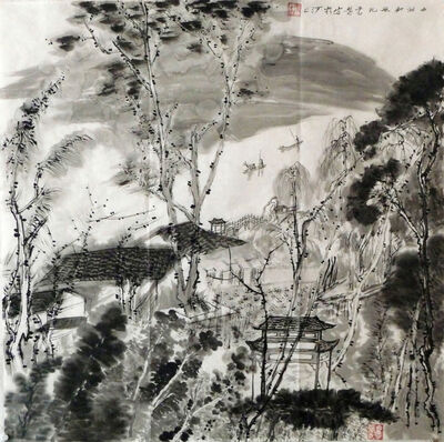 Zhang Yanyun, 'Painting in the West Lake 西湖写生 '