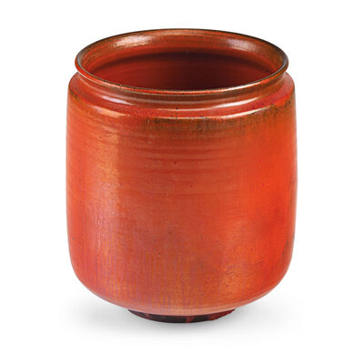 Gertrud Natzler, 'Straight-walled vessel, vivid orange glaze, Los Angeles, CA', 1960