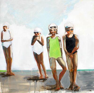 "Debbie Miller, '""Girl Swim"" Kids in Green Black White Bathing Suits, Gray and White Background', 2010-2018"