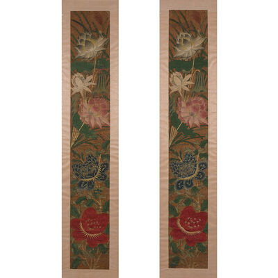 Chinese School, 'Two Panels: Each panel depicting large peony blossoms and lotus flowers with gilt highlights, all reserved on a background of small cut paper flowers with red pistils', Late 17th century