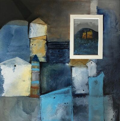 Cecilia Villanueva, '3,528 Hours at Home 1, architecture, white, blue, houses, home, postmodern art, gray, ocher, casitas, abstract, geometric, texture', 2020