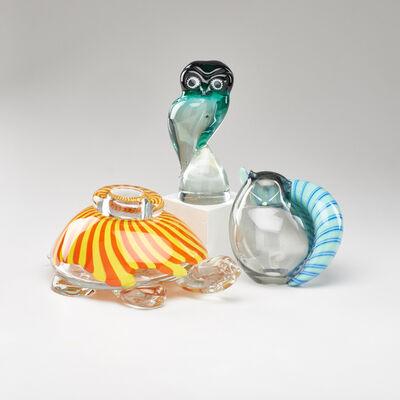 Livio & Viro Seguso, 'Three figural pieces: cat, turtle vessel, and owl'