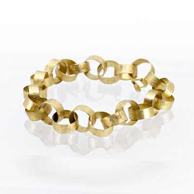 Petra Class, '18k Gold Links Bracelet with 0.1ct. Diamond on Clasp', 2020