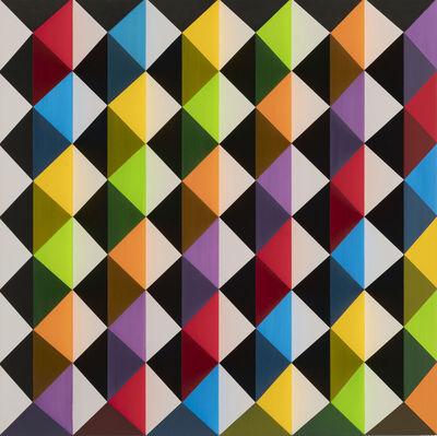 Roland Helmer, 'V63 bunt - unbunt, diagonal, blauviolett', 2017