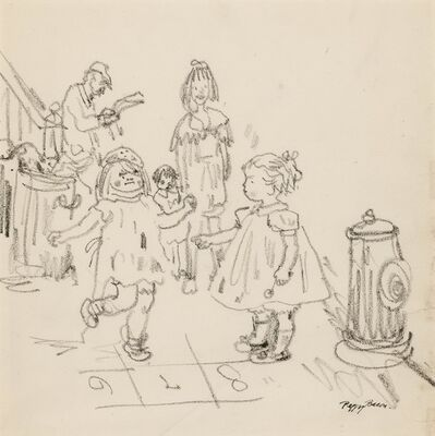 Peggy Bacon, 'Playing Hopscotch'