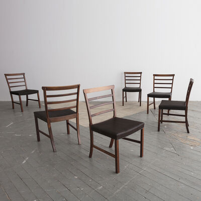 Ole Wanscher, 'Set of eight (8) Horsehair and Brazilian Rosewood Ladder Back Dining Chairs', 1940s