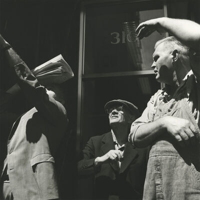 "Vivian Maier, '0131529 - Chicago, IL, May 23, 1962, 3 Men Looking Up, 12"" X 12""', Printed 2017"
