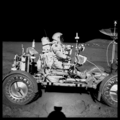 Michael Light, '070 David Scott Drives the First Lunar Rover; Note Aerial Navigation Photographs; Photographed by James Irwin, Apollo 15, July 26-August 7, 1971', 1999