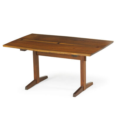 George Nakashima, 'Trestle table with book-matched top, New Hope, PA', 1984