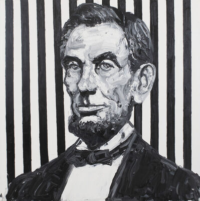 Hunt Slonem, 'Lincoln / Black and White with Stripes', 2019