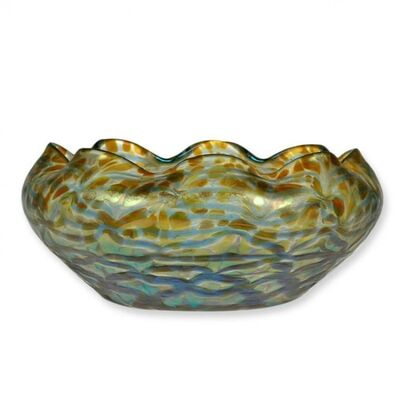 Loetz, 'Loetz Bowl Gorgeous Blue Golden Colour Candia Maxima ca 1904', ca. 1904
