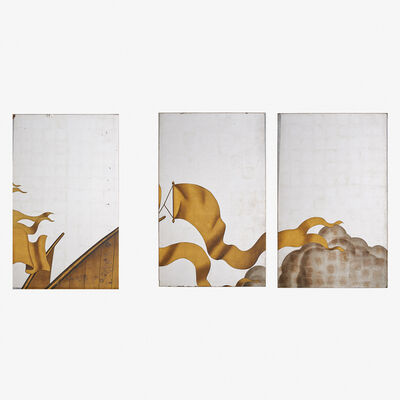 Jean Dupas, 'Three verre églomisé panels, two contiguous, from the Rape of Europa Mural, Grand Salon, SS. Normandie, France', ca. 1934