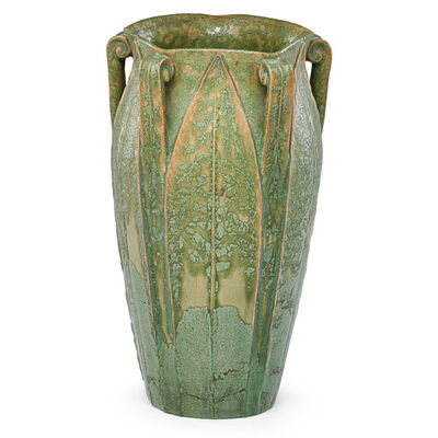 Wilhelmina Post, 'Five-handled vase with leaves, Boston, MA', ca. 1905