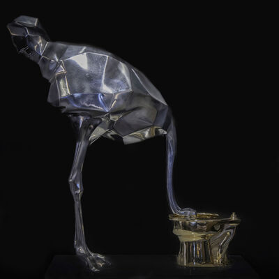 Angelo Accardi, 'Ostrich Golden fountain silver ', 2019