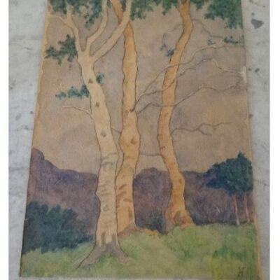 Natalia Goncharova, 'Landscape with trees', ca. 1911